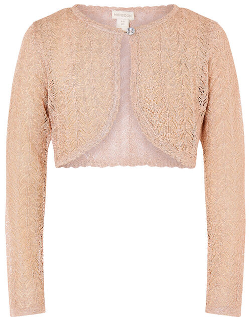 Metallic Pointelle Knit Cardigan, Gold (ROSE GOLD), large