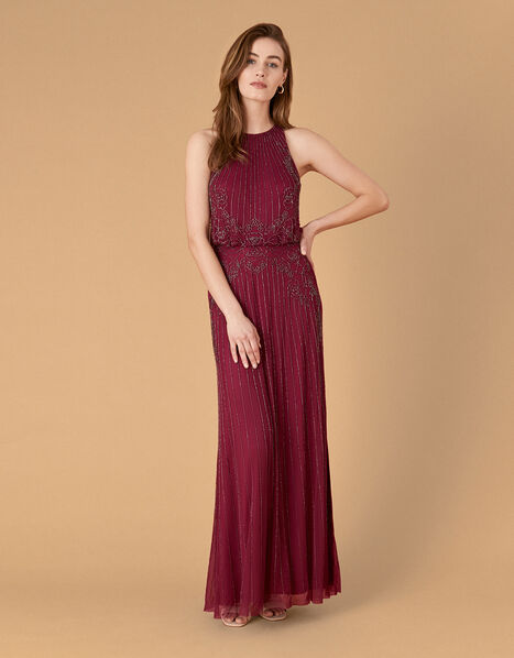 Belle Bead Embellished Maxi Dress in Recycled Fabric Red, Red (BERRY), large