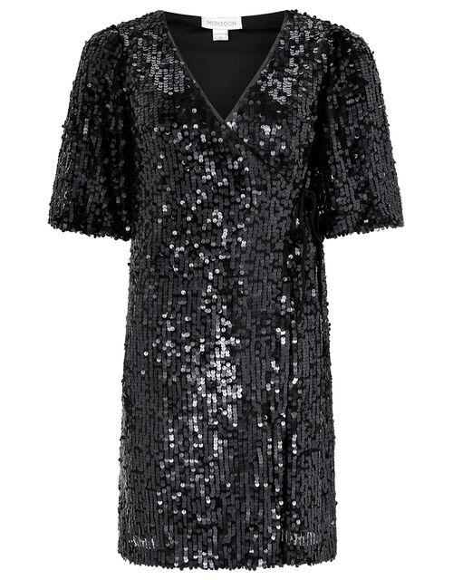 Serena Sequin Wrap Dress, Black, large