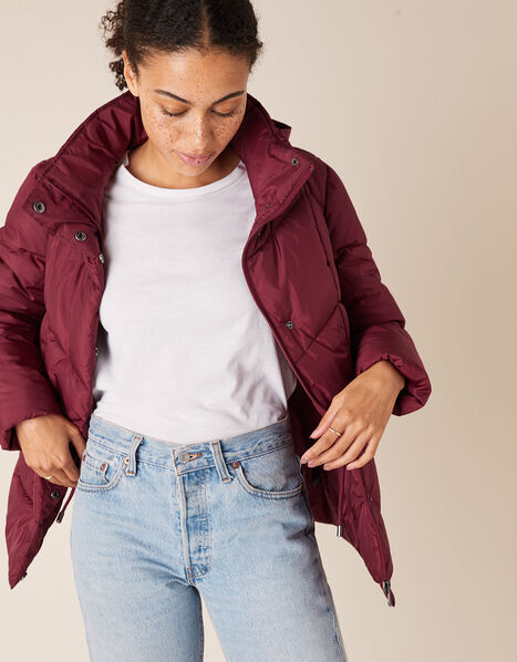 Elizabeth Padded Jacket in Recycled Fabric Red, Red (BERRY), large