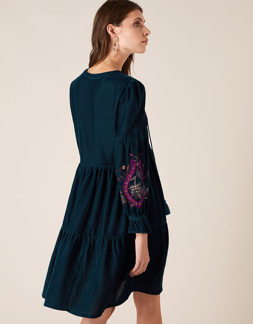 Embroidered Velvet Midi Dress, Teal (TEAL), large