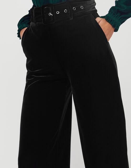 Victoria Velvet Wide Leg Trouser, Black (BLACK), large