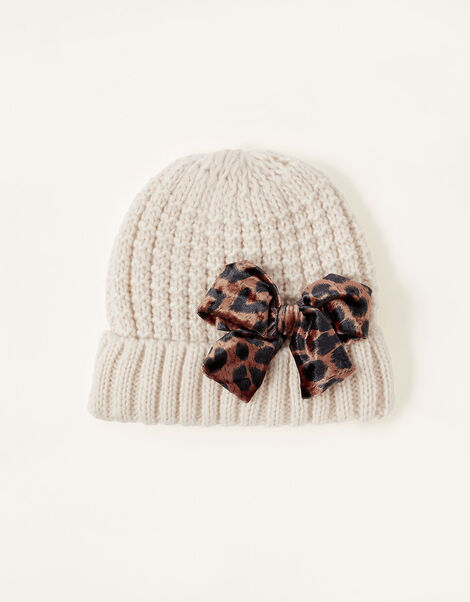 Katie Leopard Bow Knit Hat Camel, Camel (OATMEAL), large