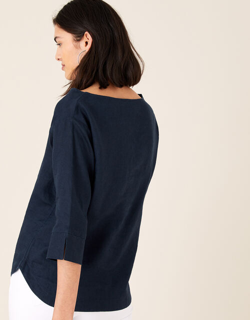 Daisy Plain T-Shirt in Pure Linen, Blue (NAVY), large