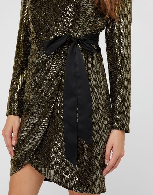 Trinity Sequin Tux Dress, Gold (GOLD), large