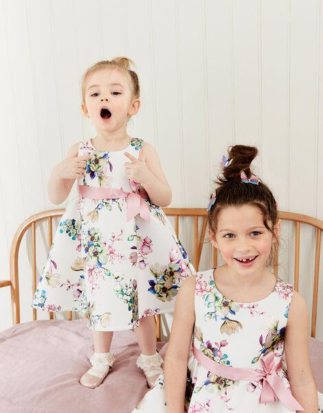 Baby Foil Floral Scuba Dress Ivory, Ivory (IVORY), large