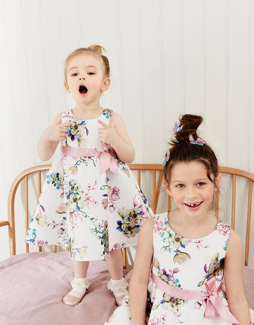 Baby Foil Floral Scuba Dress, Ivory (IVORY), large