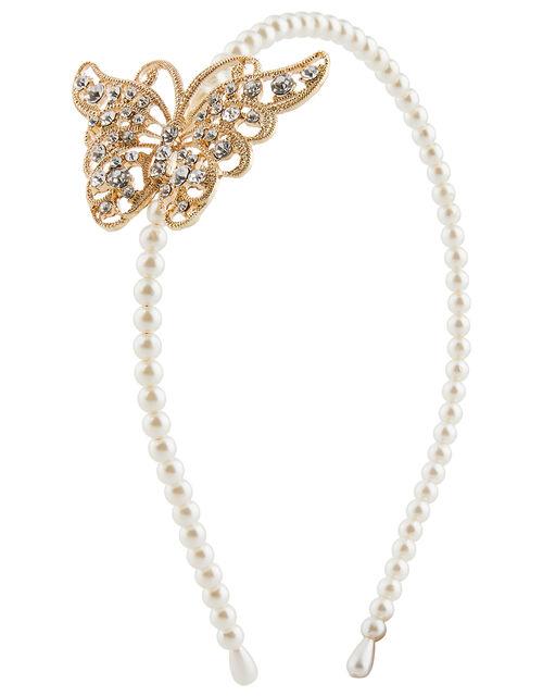 Diamante Butterfly Headband, , large