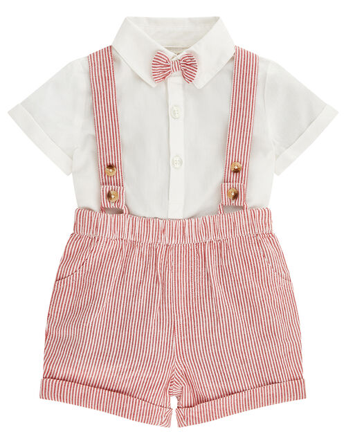 Newborn Baby Archie Dungaree Set, Red (RED), large