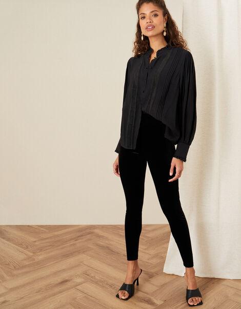 Velvet Leggings Black, Black (BLACK), large