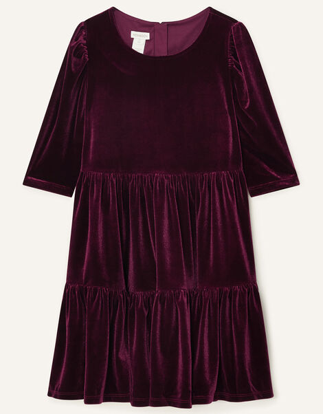 Tiered Velvet Dress Red, Red (BURGUNDY), large