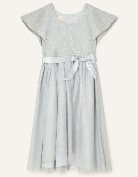 Truth Sequin Cape Sleeve Dress  Grey, Grey (GREY), large