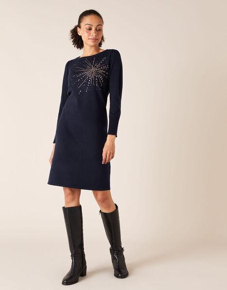 Starburst Heat-Seal Gem Knit Dress Blue, Blue (NAVY), large