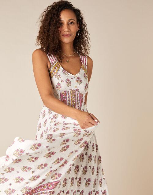 Heritage Print Midi Dress in LENZING™ ECOVERO™, Ivory (IVORY), large