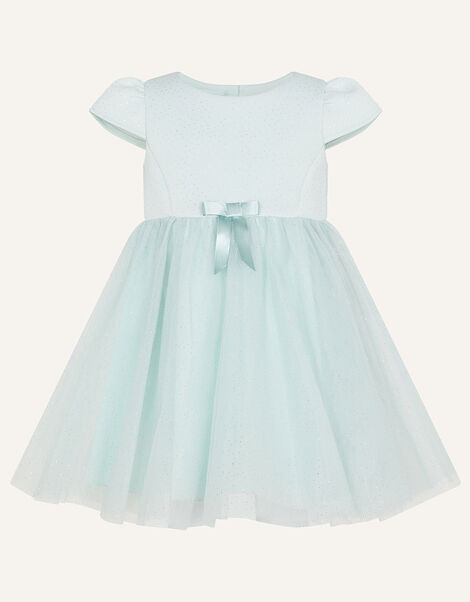 Baby Glitter Scuba and Tulle Dress Teal, Teal (DUCK EGG), large