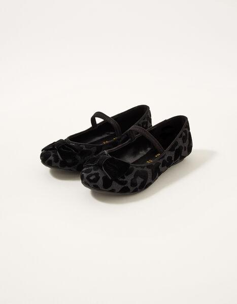 Animal Velvet Ballerina Flats Black, Black (BLACK), large
