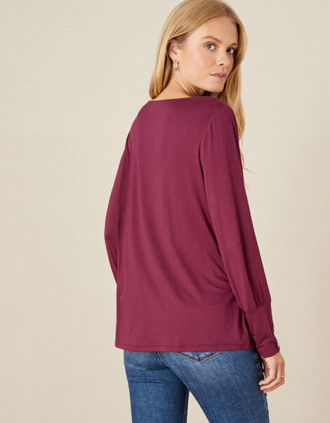 Carley Cowl Neck Top Red, Red (BERRY), large