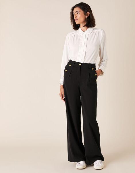 Military Wide-Leg Trousers Black, Black (BLACK), large