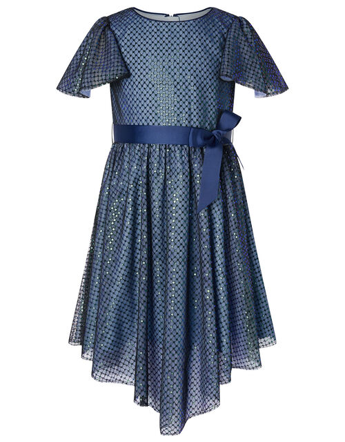 Sequin Flutter Sleeve Dress, Blue (NAVY), large