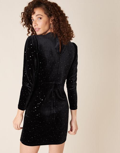 Kay Star Stretch Velvet Dress, Black (BLACK), large
