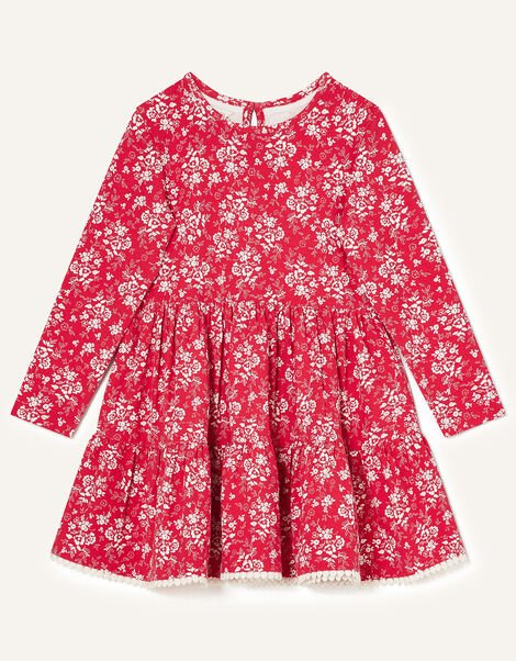 Martha Floral Jersey Dress Red, Red (RED), large