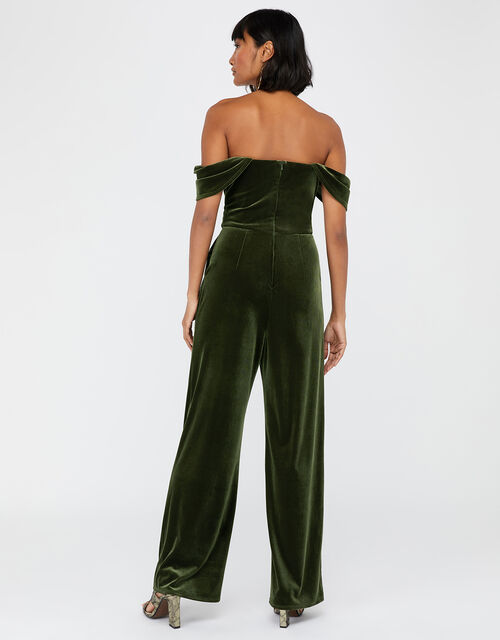 Barbara Bardot Velvet Jumpsuit, Khaki, large