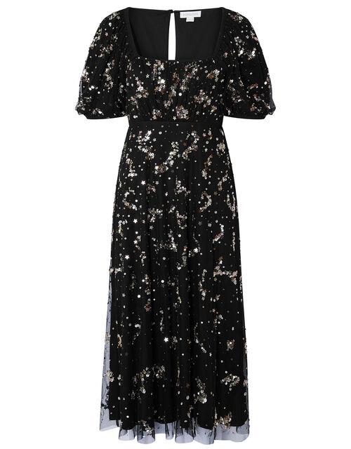 Selena Star Sequin Midi Dress, Black (BLACK), large