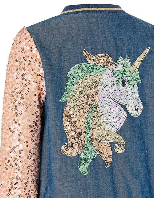 Sequin Unicorn Denim Bomber Jacket, Blue (BLUE), large