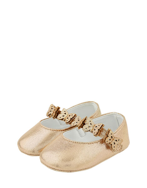 Baby Savannah Butterfly Bootie Shoes Gold, Gold (GOLD), large