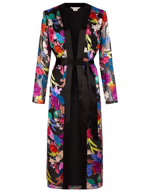 Burnout Floral Print Satin Kimono, Black (BLACK), large