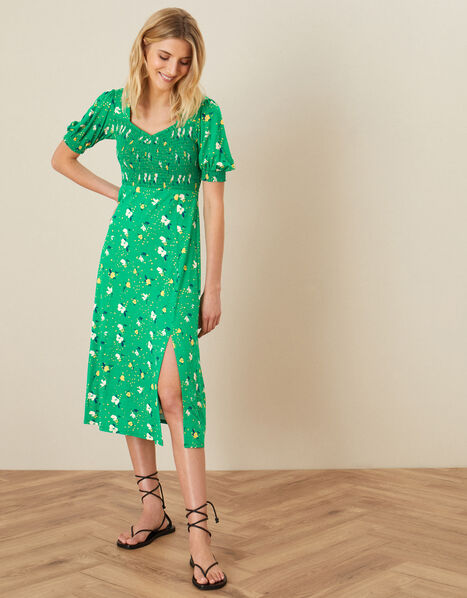 Nicky Floral Shirred Jersey Dress Green, Green (GREEN), large