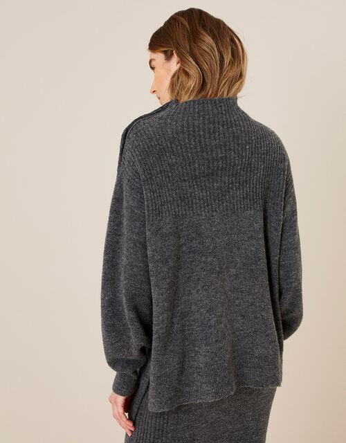 LOUNGE High Neck Knit Jumper , Grey (CHARCOAL), large