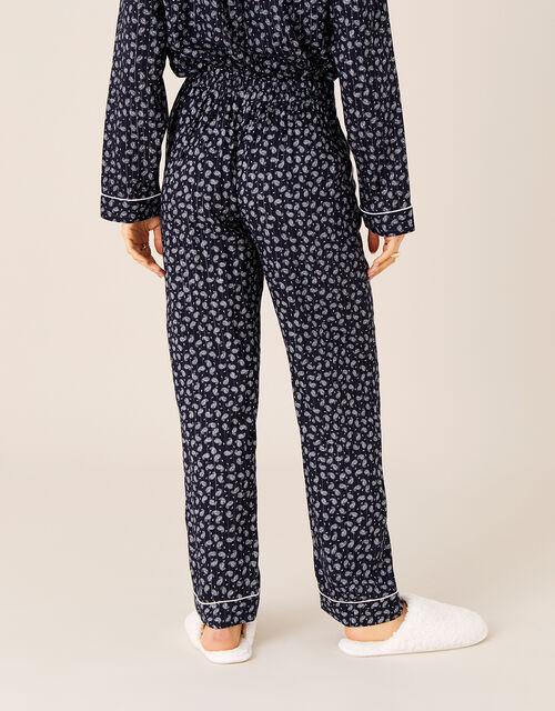 Paisley and Pinstripe Pyjama Bottoms, Blue (NAVY), large