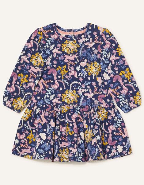 Baby Woodland Print Jersey Dress  Blue, Blue (NAVY), large