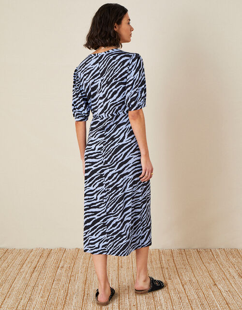 Animal Print Jersey Midi Dress, Blue (BLUE), large