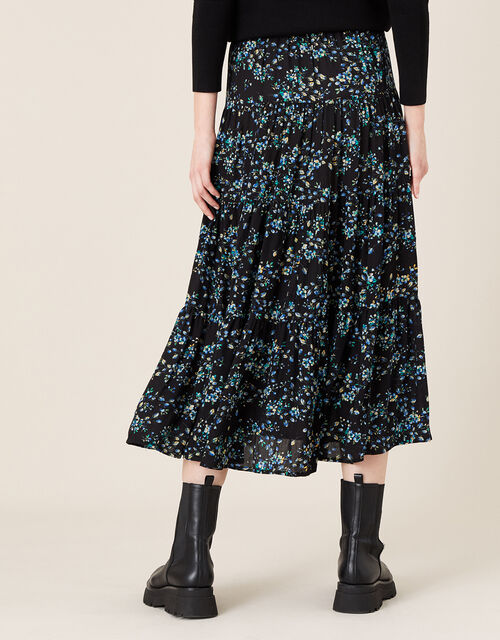 Floral Tiered Midi Skirt in LENZING™ ECOVERO™, Black (BLACK), large