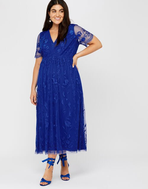 Valentina Embroidered Midi Dress, Cobalt, large