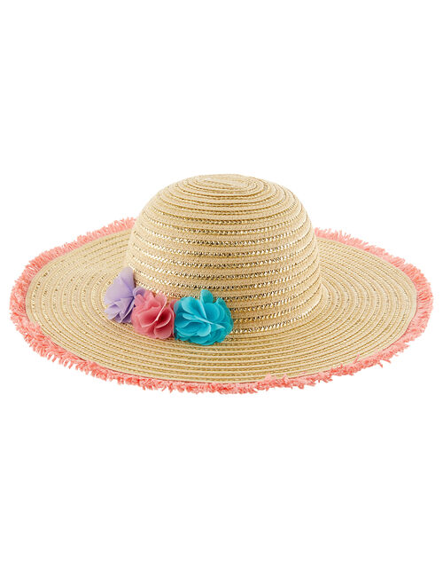 Blaire Bright Pom-Pom Floppy Hat , Natural (NATURAL), large