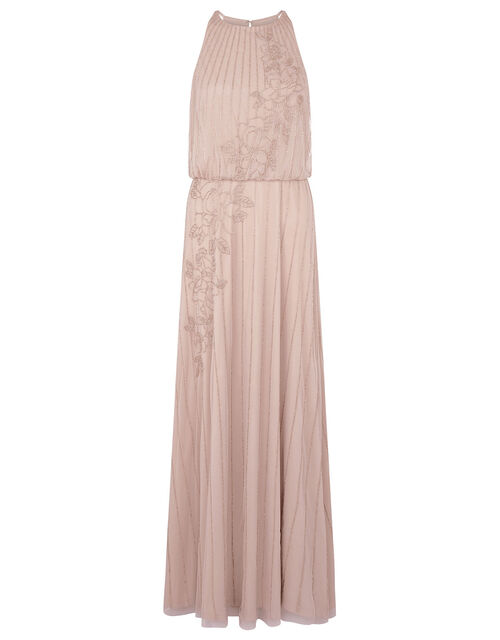 Summer Beaded Floral Maxi Dress, Pink (PINK), large