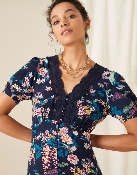 Oriental Print Lace Trim Dress Blue, Blue (NAVY), large