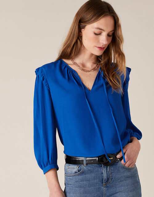 Tie Neck Top with Sustainable Viscose, Blue (COBALT), large