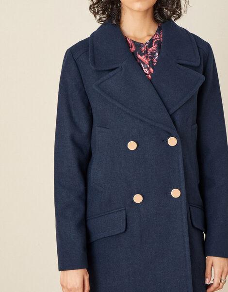 Annabelle Pea Coat Blue, Blue (NAVY), large