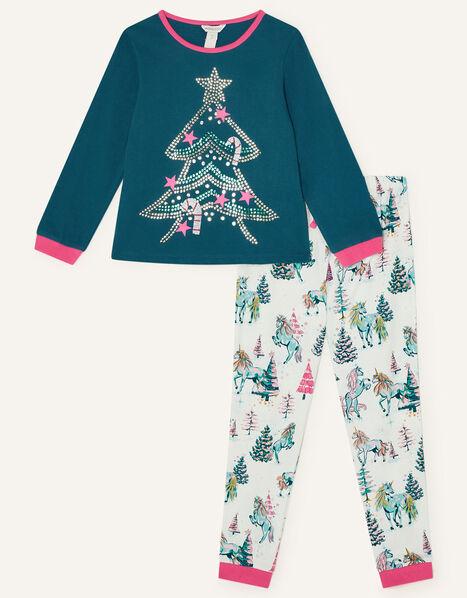 Unicorn Christmas Tree Pyjama Set  Green, Green (GREEN), large