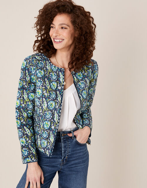 ARTISAN STUDIO Floral Quilted Jacket, Blue (NAVY), large