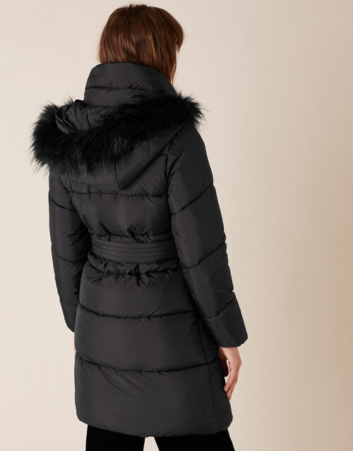 Patsy Long Padded Coat in Recycled Fabric, Black (BLACK), large
