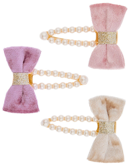 Velvet Bow Pearly Hair Clip Set, , large