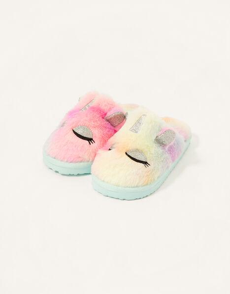 Unicorn Ombre Fluffy Slippers Multi, Multi (MULTI), large