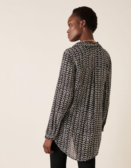 Printed Longline Shirt in Sustainable Viscose , Black (BLACK), large