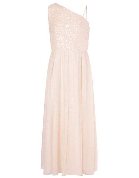 Sequin One-Shoulder Prom Dress Natural, Natural (CHAMPAGNE), large