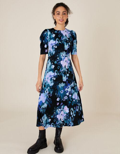 Mason Blurred Floral Midi Dress, Blue (BLUE), large